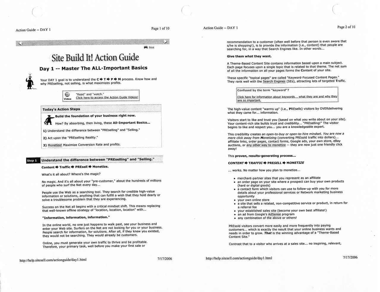 Printout of page 1 of the 10-day Action Guide that got me started on building the World of Waterfalls website through SBI