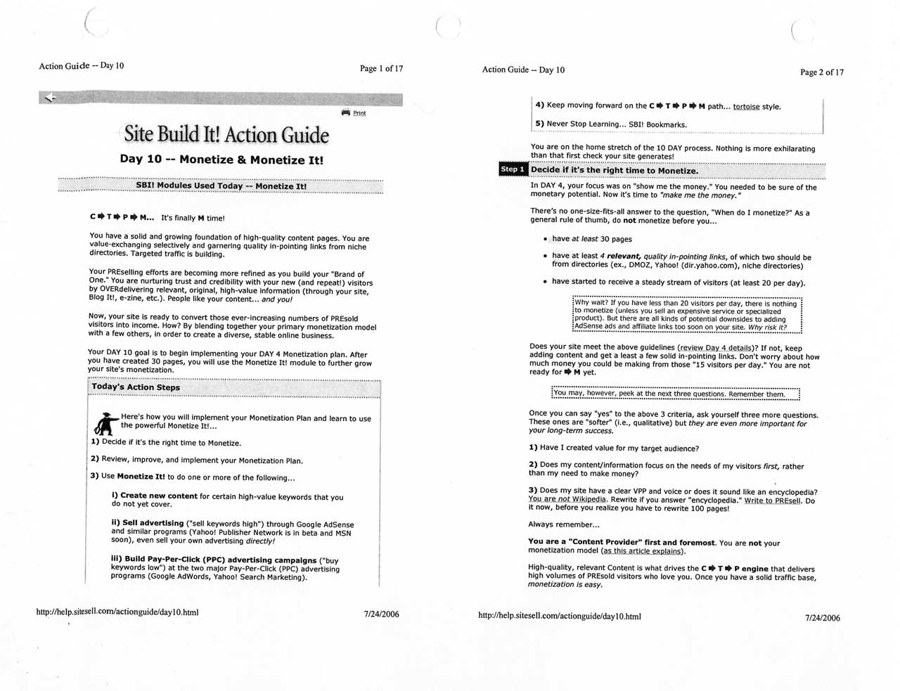 Printout of page from the 10th day of the 10-day Action Guide. By this time, I was already building momentum on constructing the World of Waterfalls website from the ground up