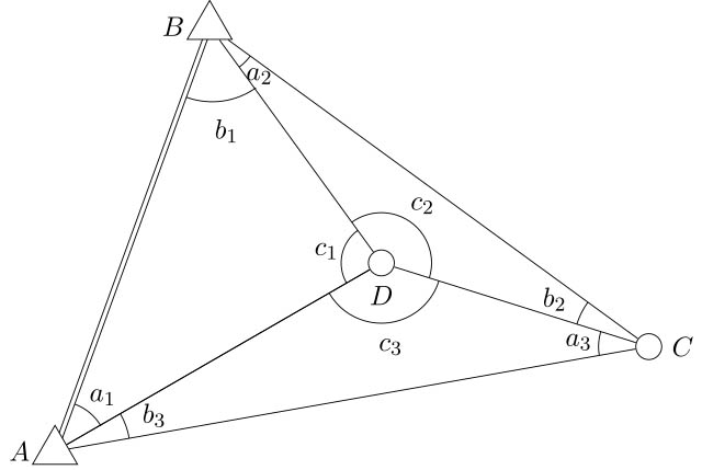 Drawing showing triangulation involving three points A,B,C. This allows you to pinpoint your location (point D). Noting that points A,B,C are satellites constantly orbiting the earth, the more points (satellites) around point D (the GPS receiver), the more accurate the receiver's determination of where point D is