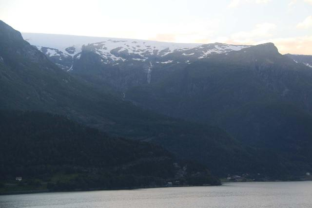 AEdnafossen_011_06232019 - Looking up towards the Folgefonna Glacier, which directly fed the Ædnafossen Waterfall as well as many other waterfalls spilling into the Sørfjorden arm of the Hardangerfjord