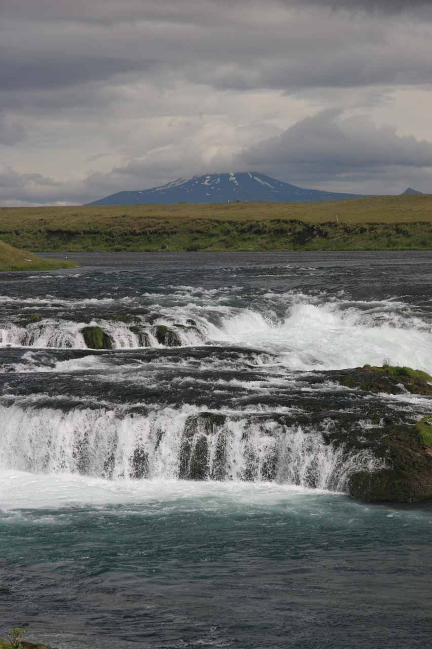 Closer look at Ægissufoss with Mt Hekla imposing in the background