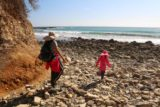 Abalone_Cove_024_02202016 - Julie and Tahia walking on a bunch of beach boulders as we were at sea level
