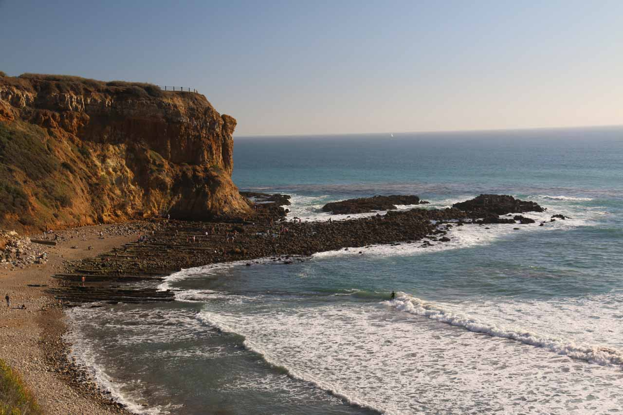Looking down towards the scenic tide pools and coastal bluffs of Abalone Cove