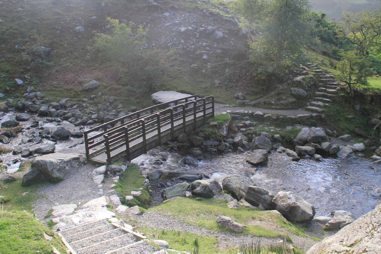 Next, I had to cross this bridge to get to the other side of Aber Falls as well as continue hiking towards the base of Rhaeadr Fach
