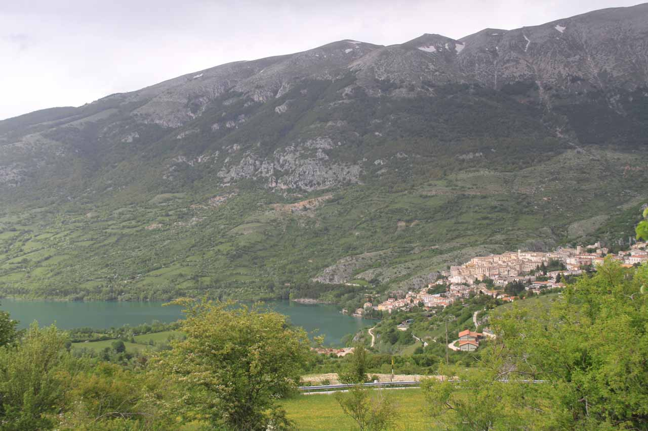 Looking down towards Lago di Barrea and the town of Barrea