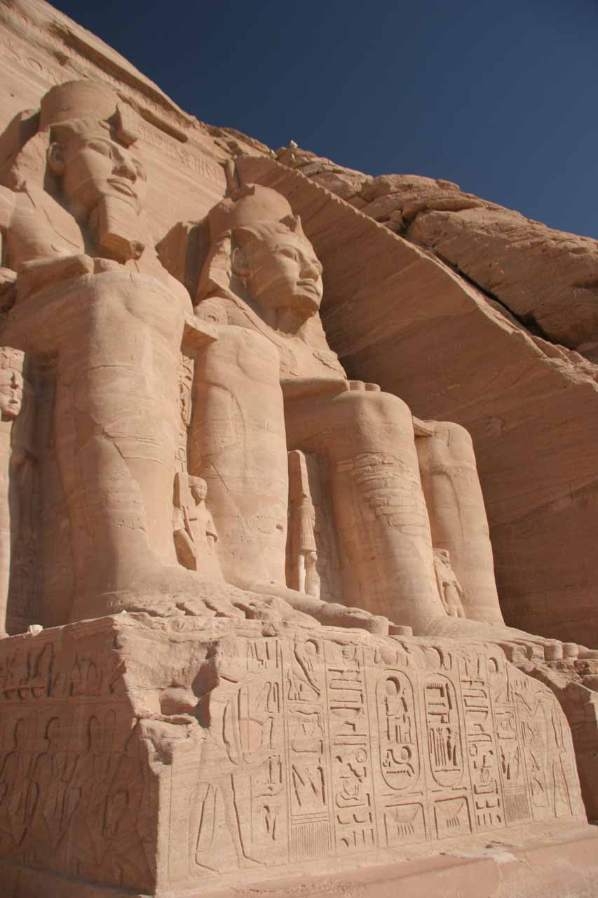 Closeup of a couple of the statues flanking the entrance to one of the Abu Simbel temples