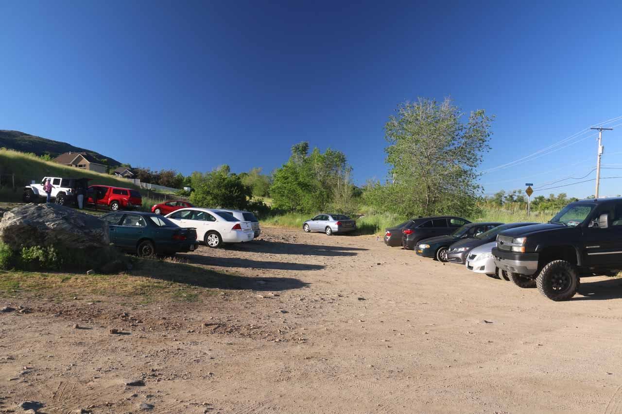 This was the fairly spacious unpaved parking area for the Adams Canyon Falls Hike