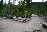 Adams_Falls_014_07282020 - The signed trail junction where the East Inlet Trail continued on the left while the Adams Falls Lookout was on the path to the right