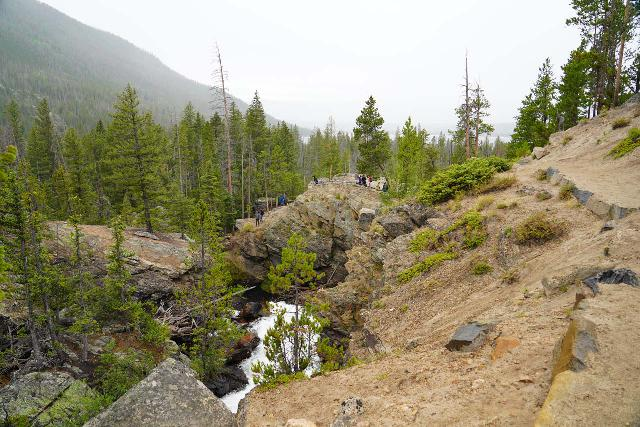 Adams_Falls_036_07282020 - Looking back at the context of the lookout area for Adams Falls, including the unsanctioned viewing area to the left of it