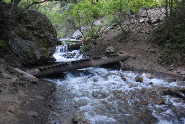 Adams_Falls_084_05272017 - The Adams Falls Trail crossing a slanted wooden bridge roughtly 0.8 miles from the Bonneville Shoreline Trail junction