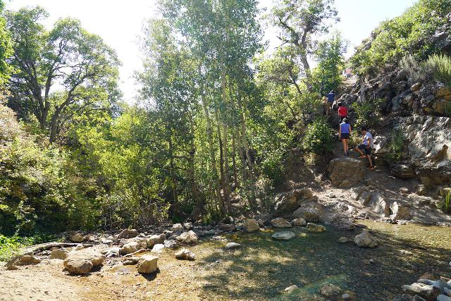 Adams_Falls_090_08092020 - Just to give you an idea of the scramble to get down to and back up from the Little Adams Falls, this photo shows you a family scrambling their way back up towards the right side