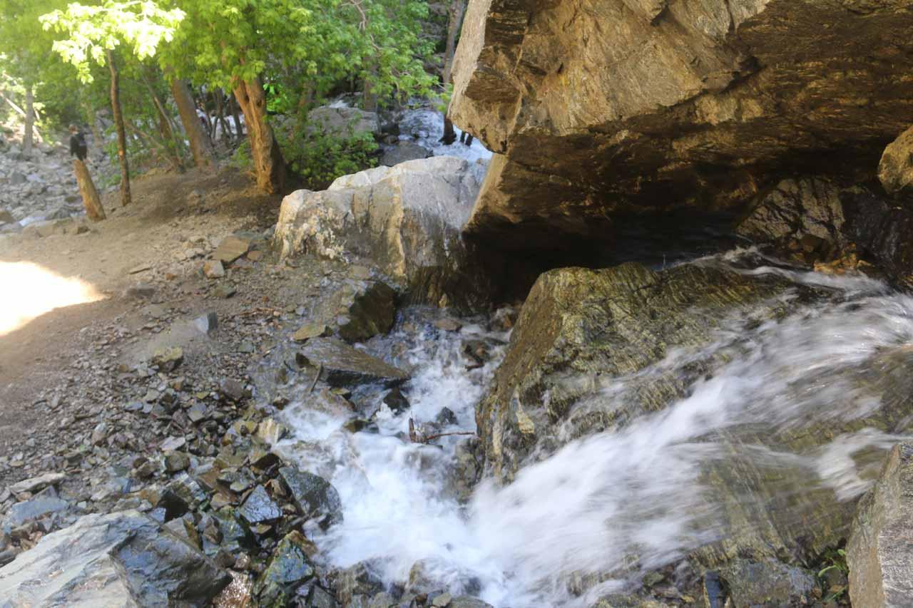 Looking back towards a cascade next to a boulder 'alcove'