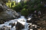 Adams_Falls_119_05272017 - As the Adams Canyon Falls hike continued to climb, it also got rougher alongside North Holmes Creek.  Here, I decided to hike in the right side of the cascade while others were willing to slide down the steep and dicey embankment on the topright to avoid getting wet