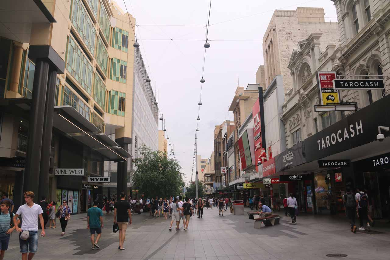 The Ingalalla Waterfalls were under two hours drive south of Adelaide, where places like the Rundle Street Mall could be experienced seemed to embody the energy of South Australia's largest city