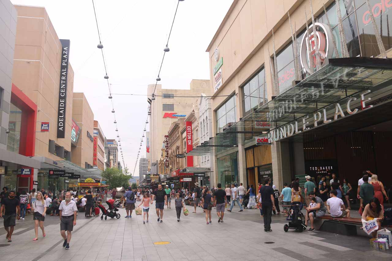 Hindmarsh Falls was about 70km south of the Adelaide CBD, which was the largest city in South Australia. Shown here is the Rundle Street Mall where there was a lot of energy and activity