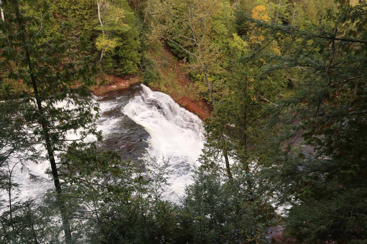 Looking down at a partial view of Agate Falls from the official lookout