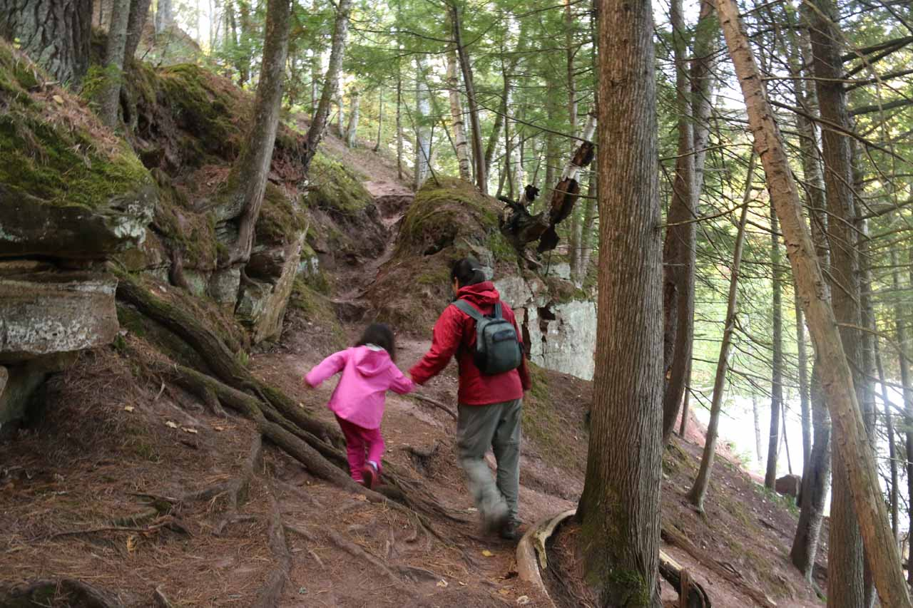 Julie and Tahia making their way back to the boardwalk and overlook of Agate Falls