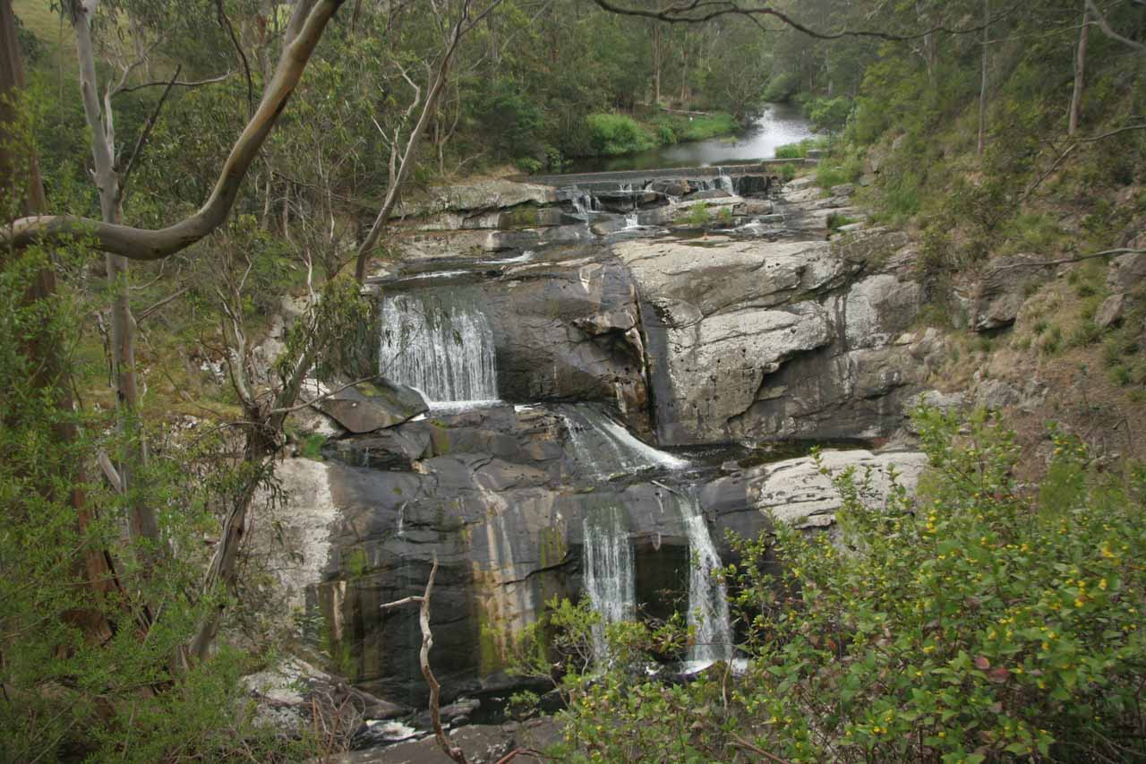 Frontal view of the top part of Agnes Falls