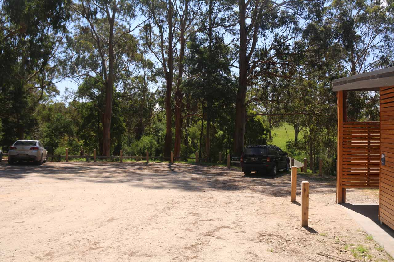 The restroom facility and car park for Agnes Falls