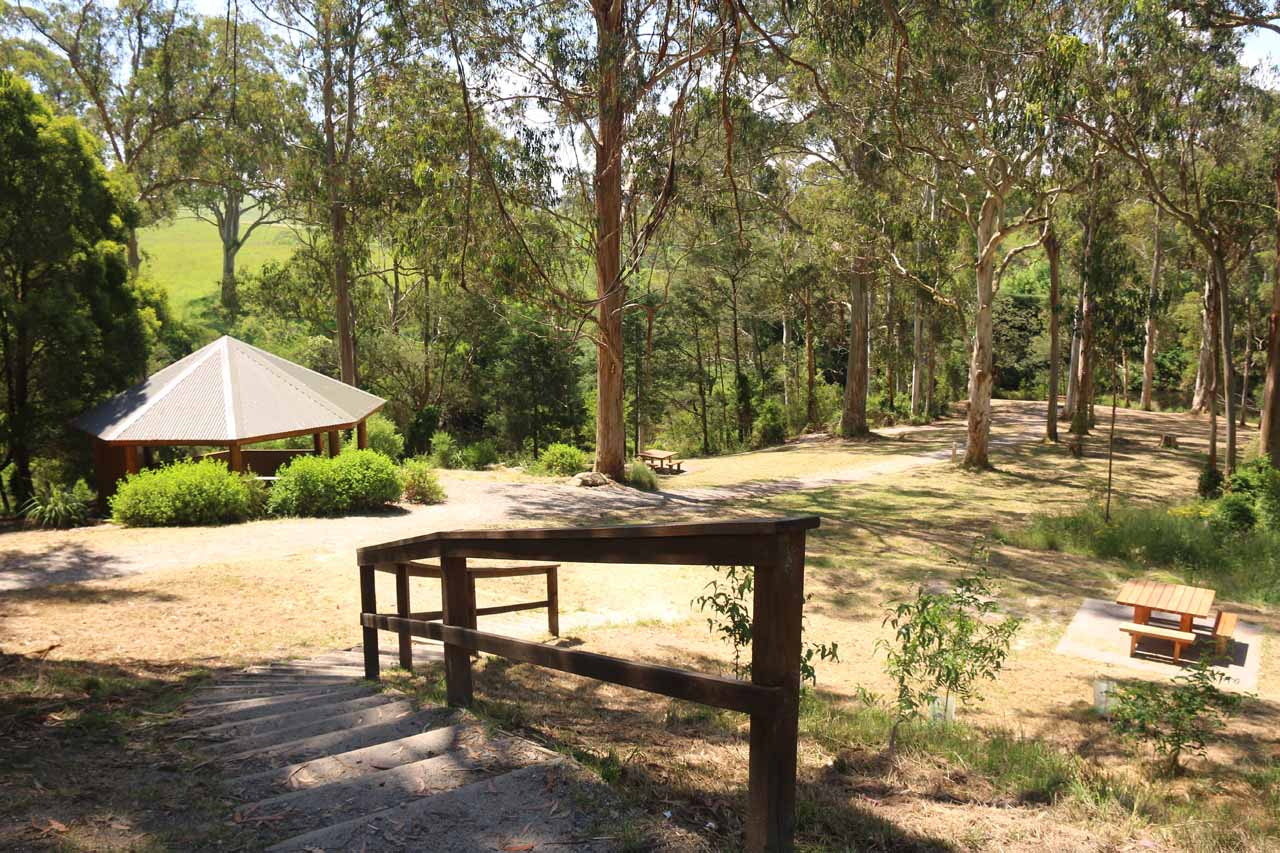 Looking towards the picnic area at the Agnes Falls Reserve