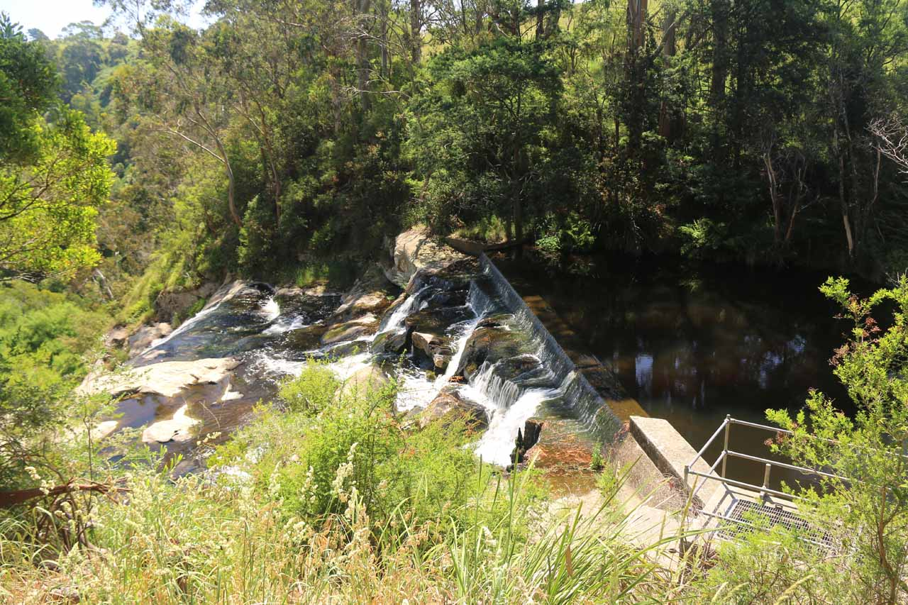 Looking towards the weir at the very top of Agnes Falls, making that part of the falls appear man-made or man-modified