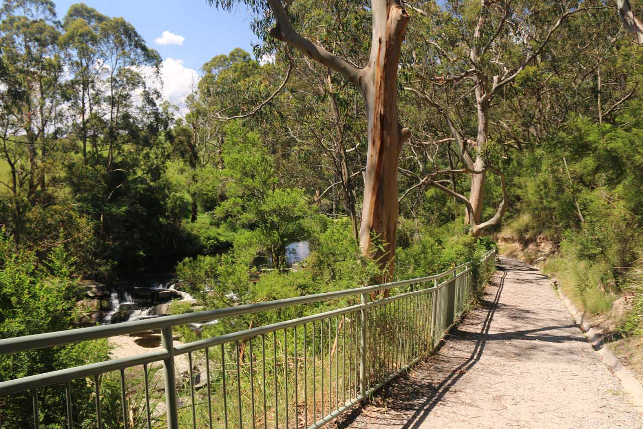 Looking back at the short walkway leading from the view of the weir to the lookouts for the Agnes Falls