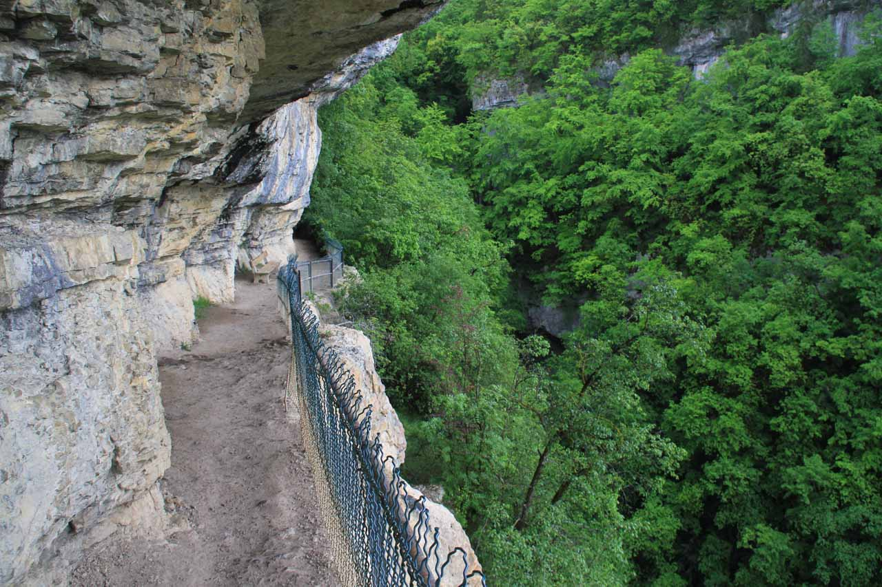 The sheltered cliff-hugging trail