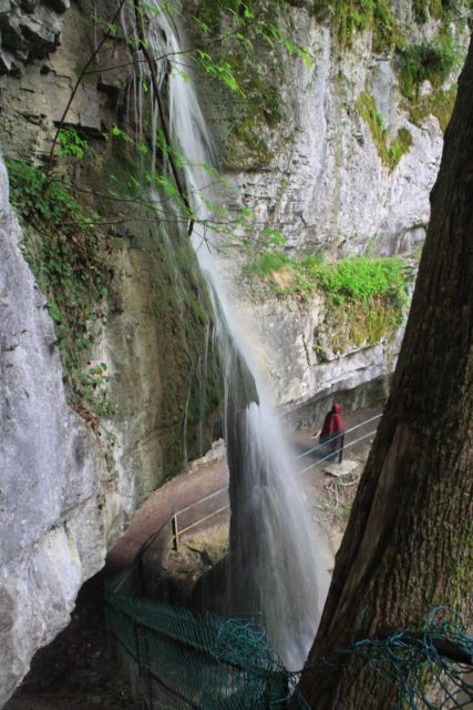 Agnon_046_20120518 - Julie walking past the 'nose' towards the Cascade d'Angon and the end of the trail