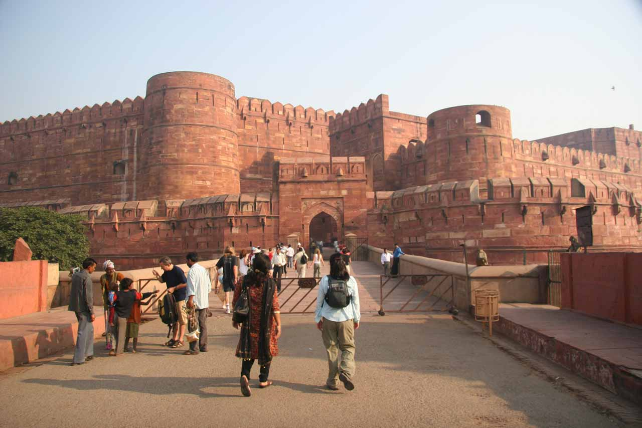Approaching the Agra Fort