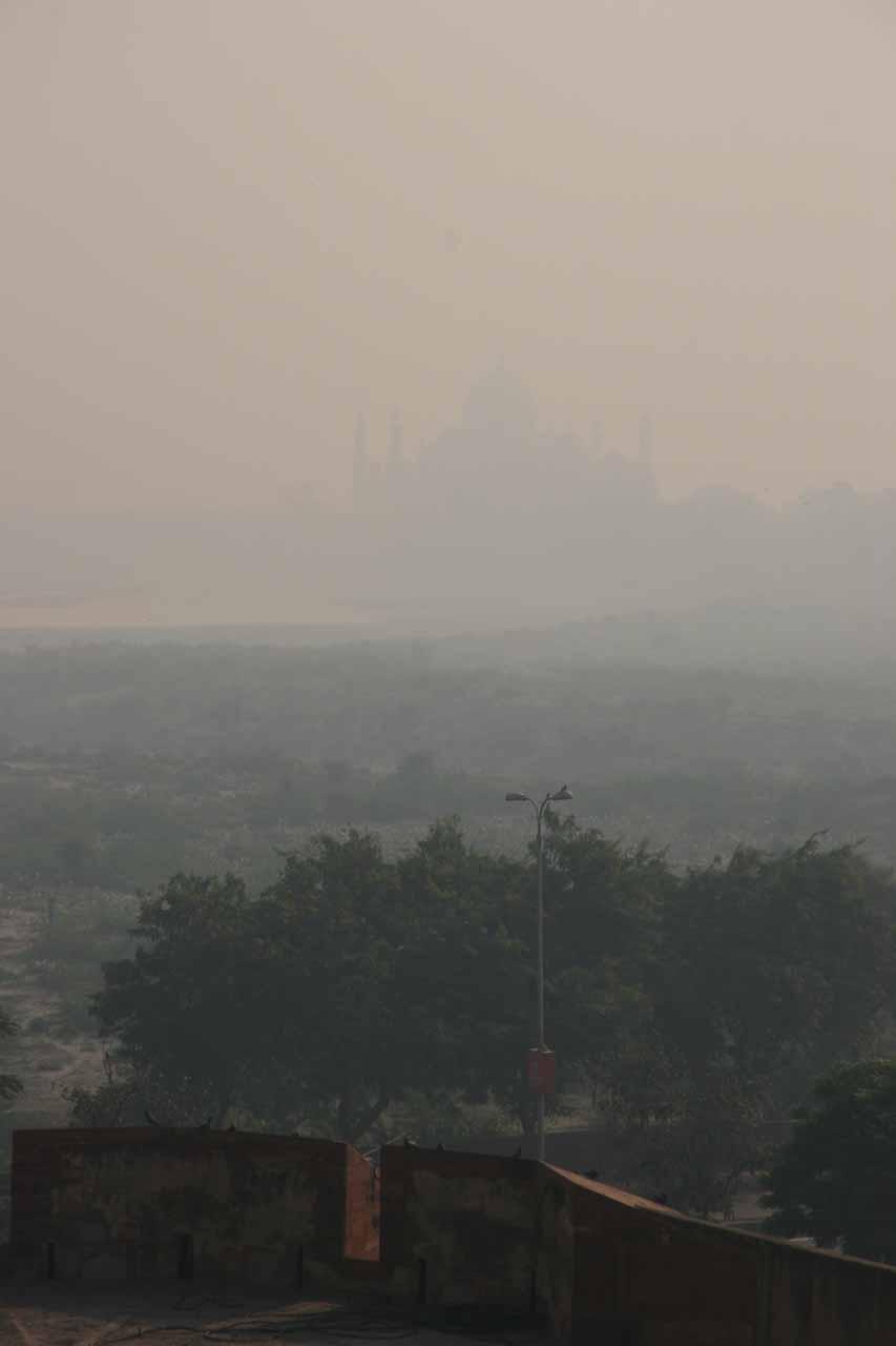 Looking towards the Taj Mahal through the haze