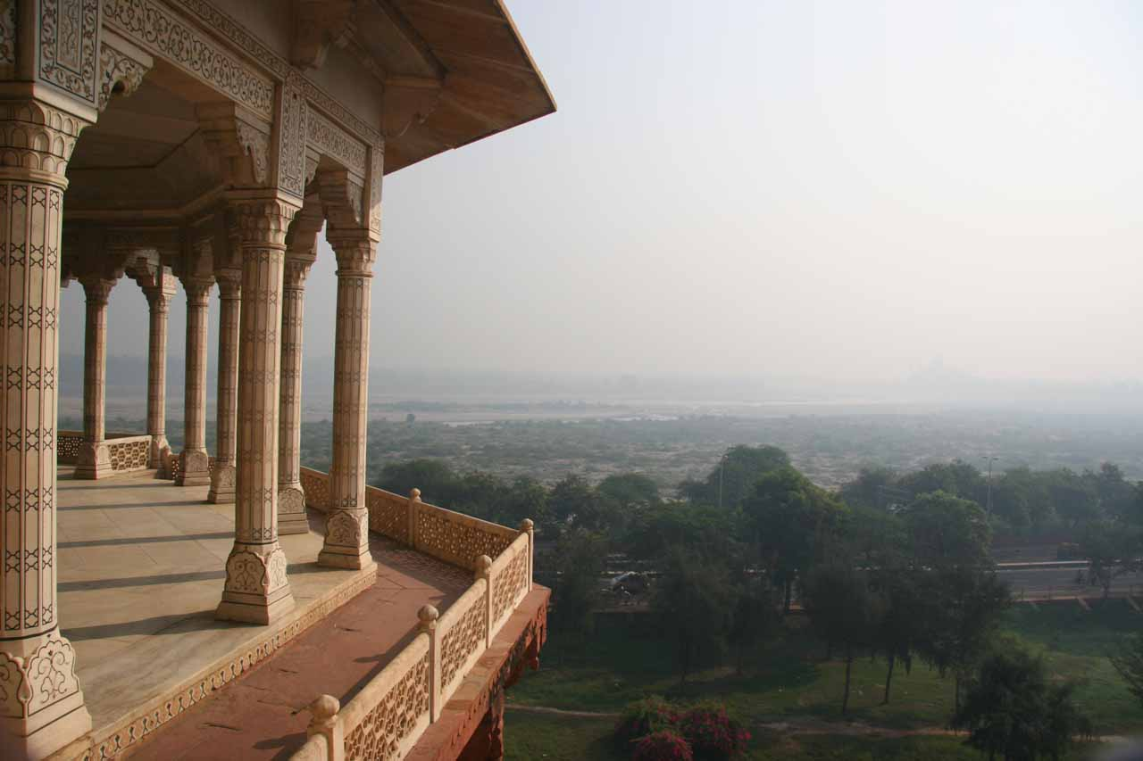 Looking out from within the Agra Fort towards the hazy surroundings