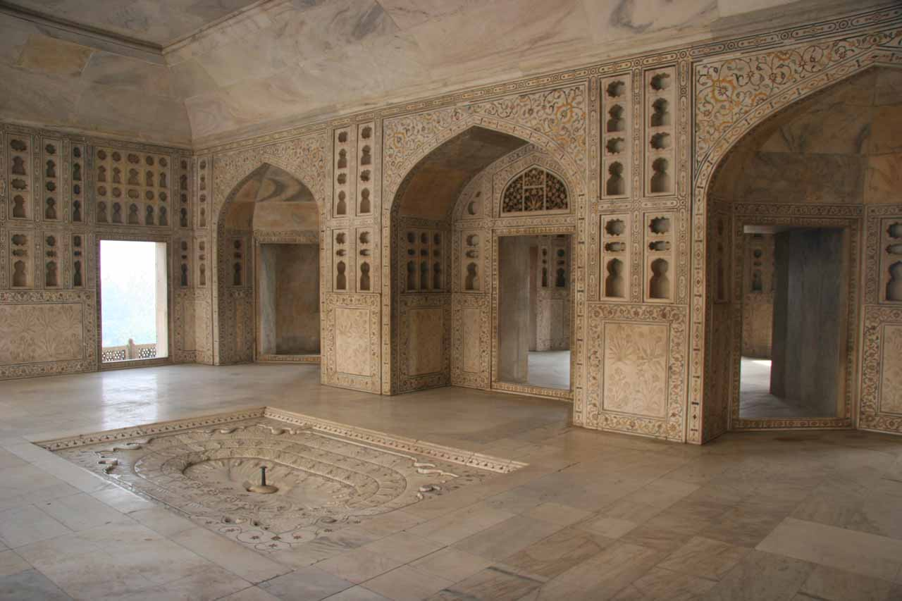 Inside a cool yet ornate section of the Agra Fort