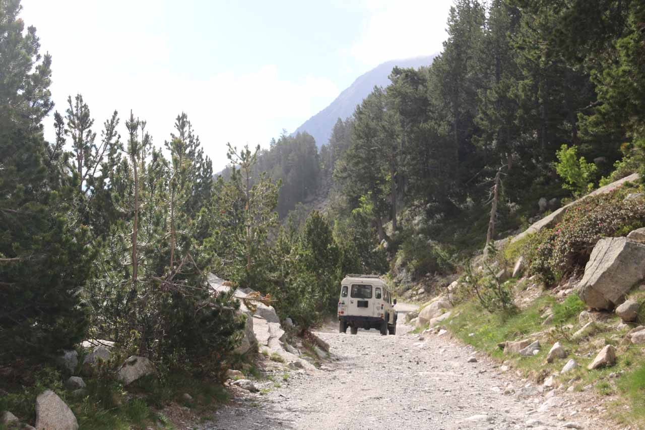 Looking back at the jeep driving off after it had dropped us off by Lake Ratera
