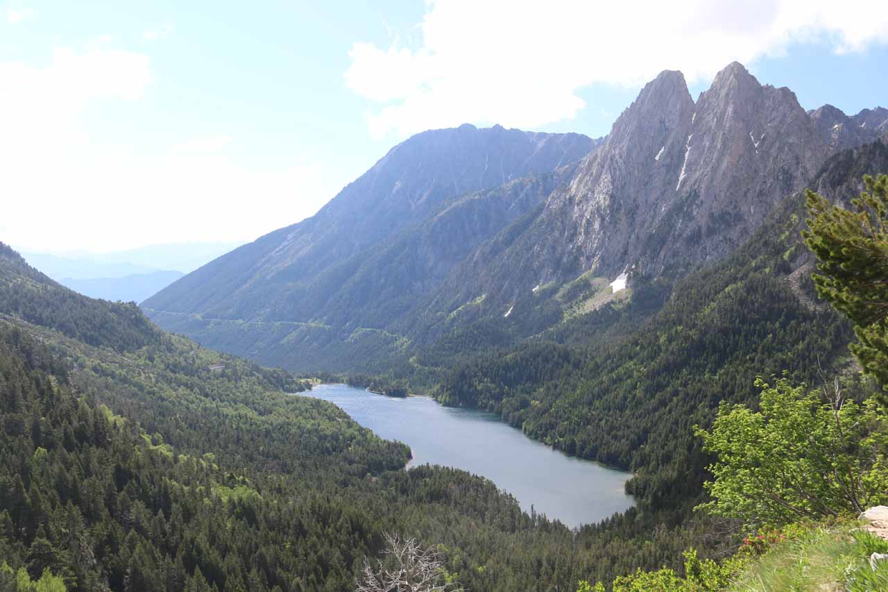 This was the regal view from the mirador over Estany de Sant Maurici that was about a ten-minute walk further up the road from Estany de Ratera