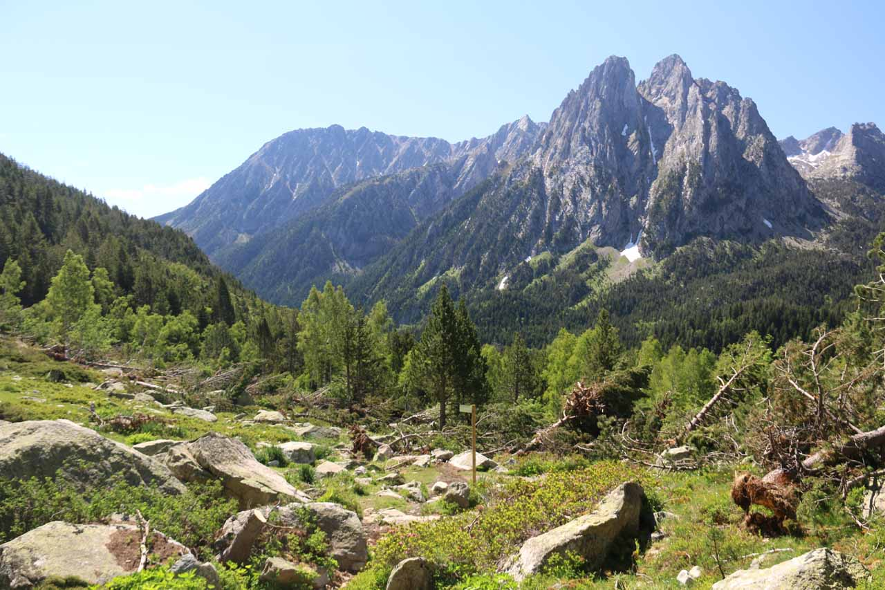 At an open part of the trail that afforded us this gorgeous view towards the jagged mountains that ultimately backed Estany de Sant Maurici