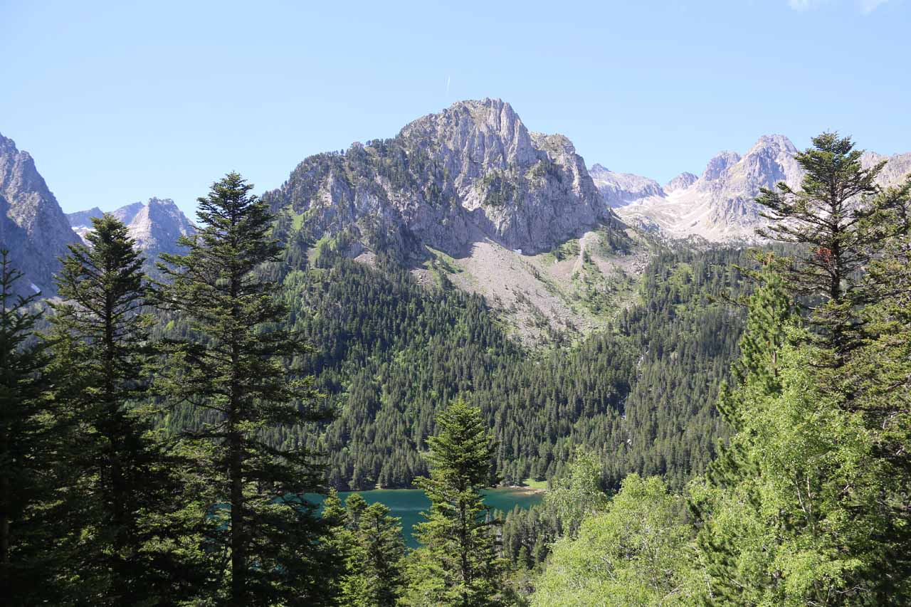 Our first glimpse of Estany de Sant Maurici as we descended lower on the trail to the Cascada de Ratera