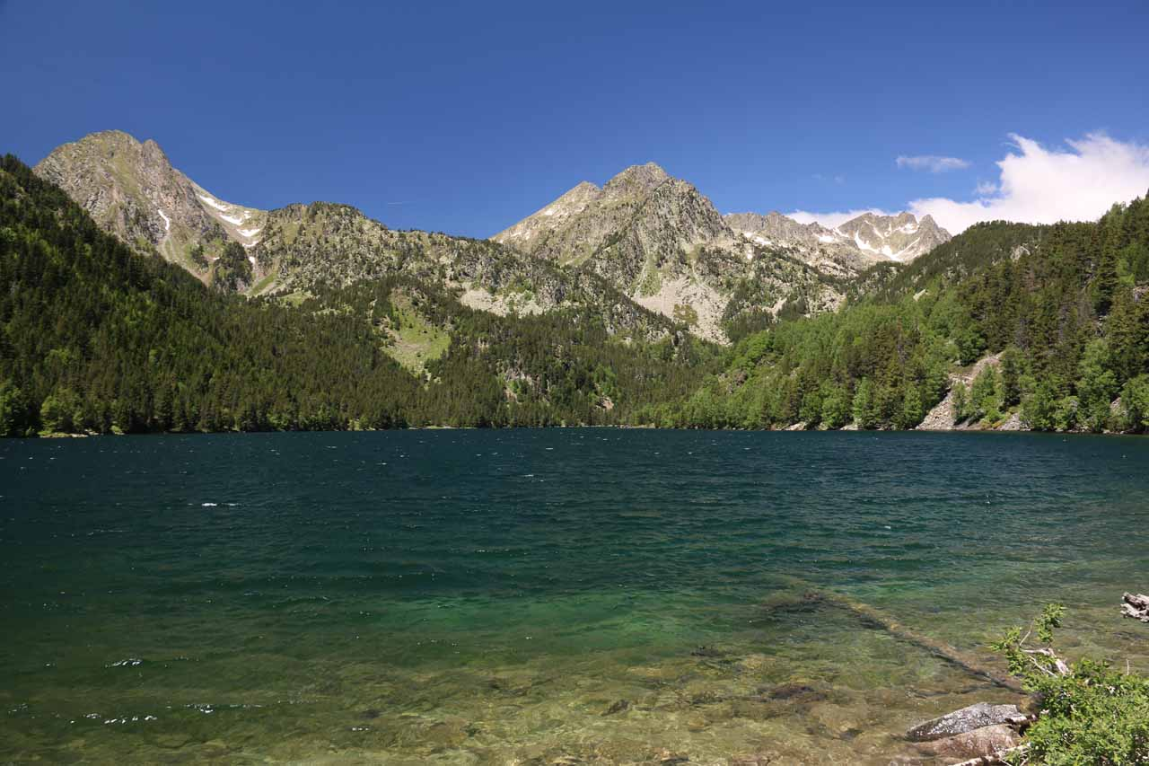 Looking back across the emerald waters of Estany de Sant Maurici