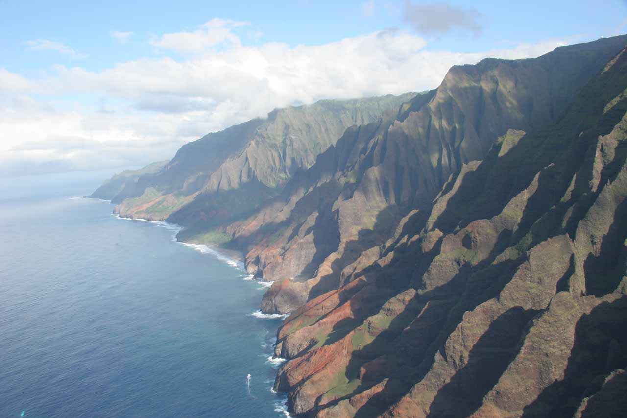 Even though the Kalalau Trail could be experienced in a difficult trek along the rugged Na Pali Coastline, sometimes an aerial perspective in a helicopter can be an even more powerful experience