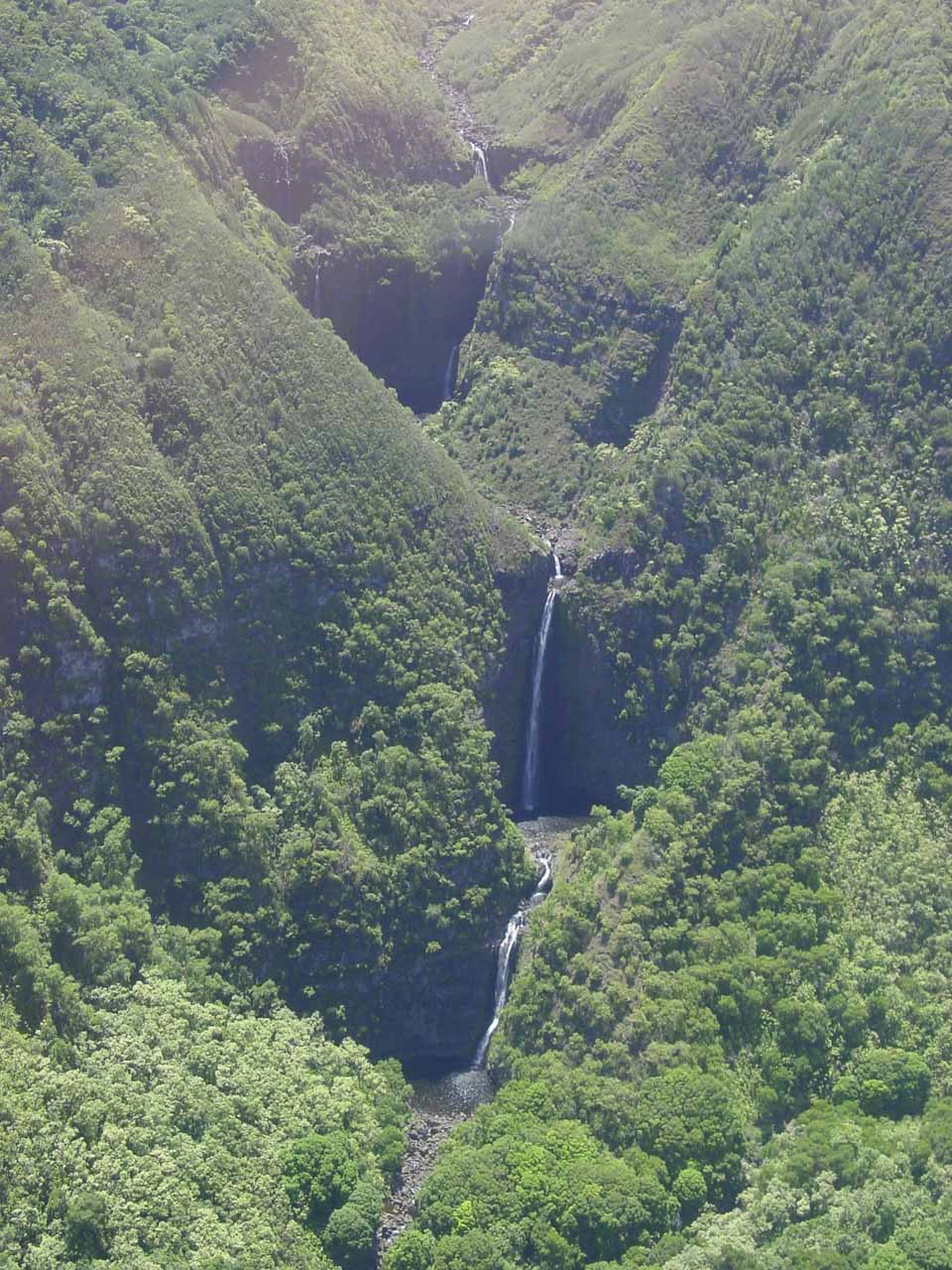 Looking down at Moa'ula Falls in the Halawa Valley of Moloka'i