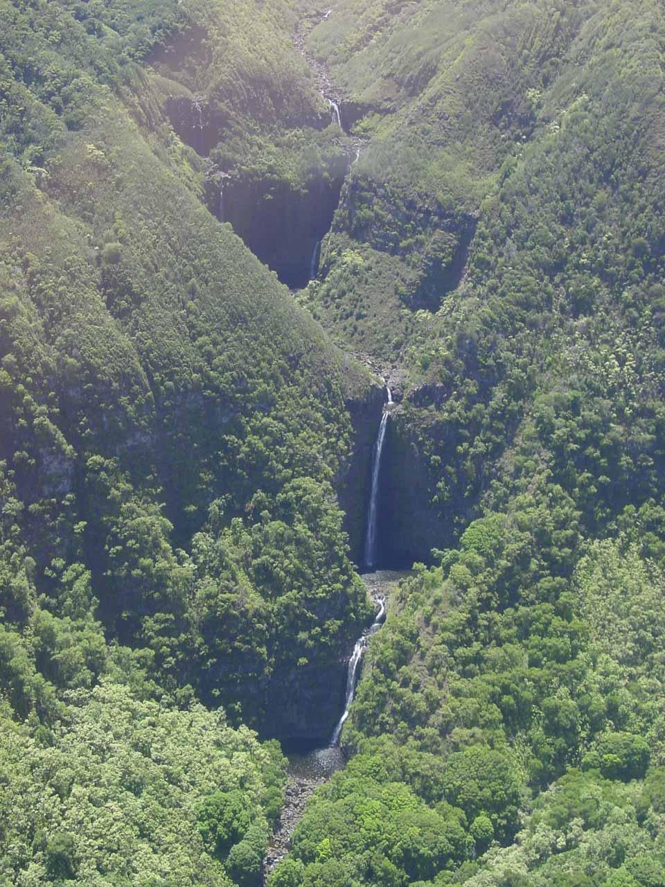 Looking down at Moa'ula Falls in the Halawa Valley of Moloka'i