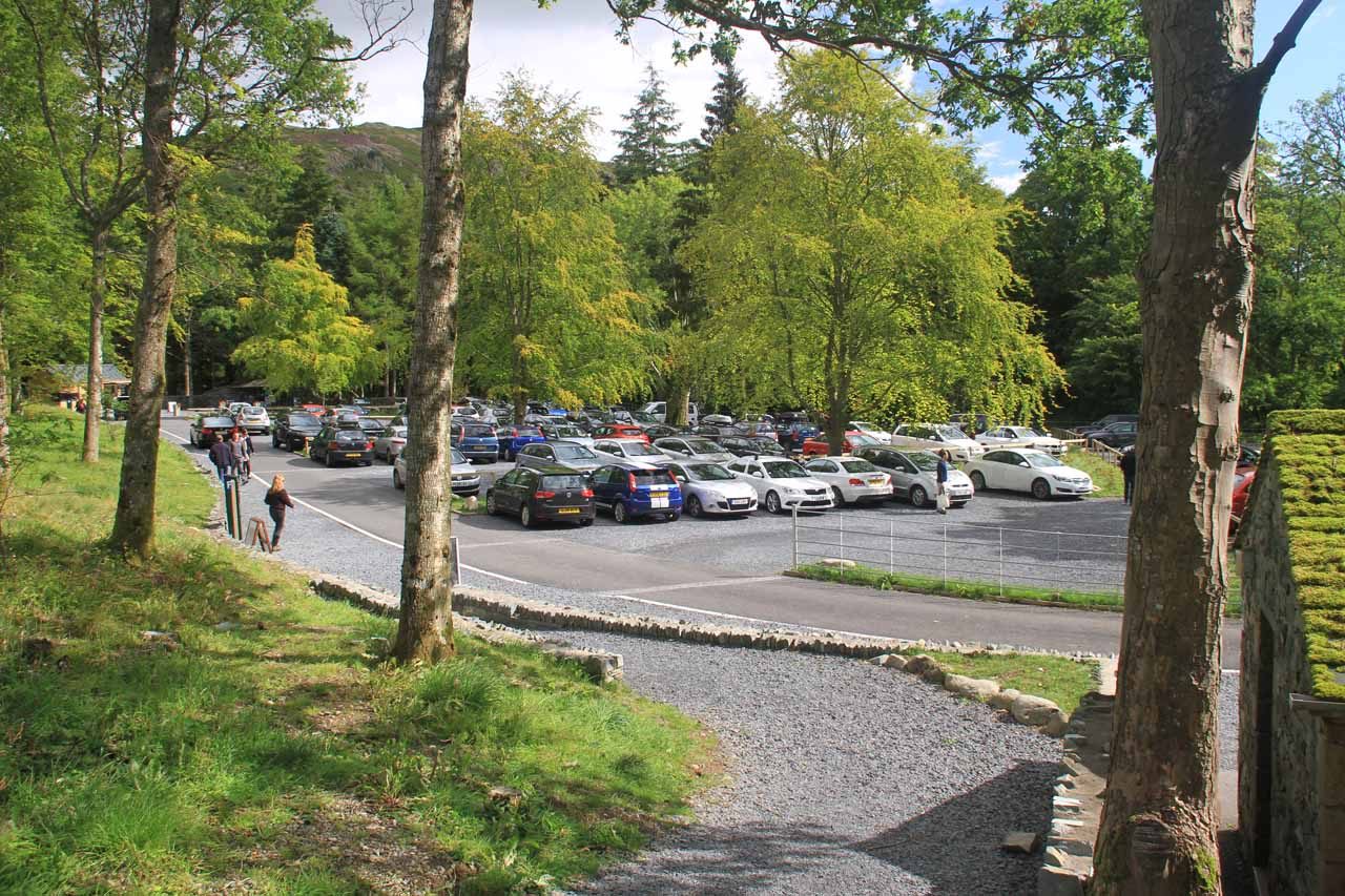 The busy car park for Aira Force