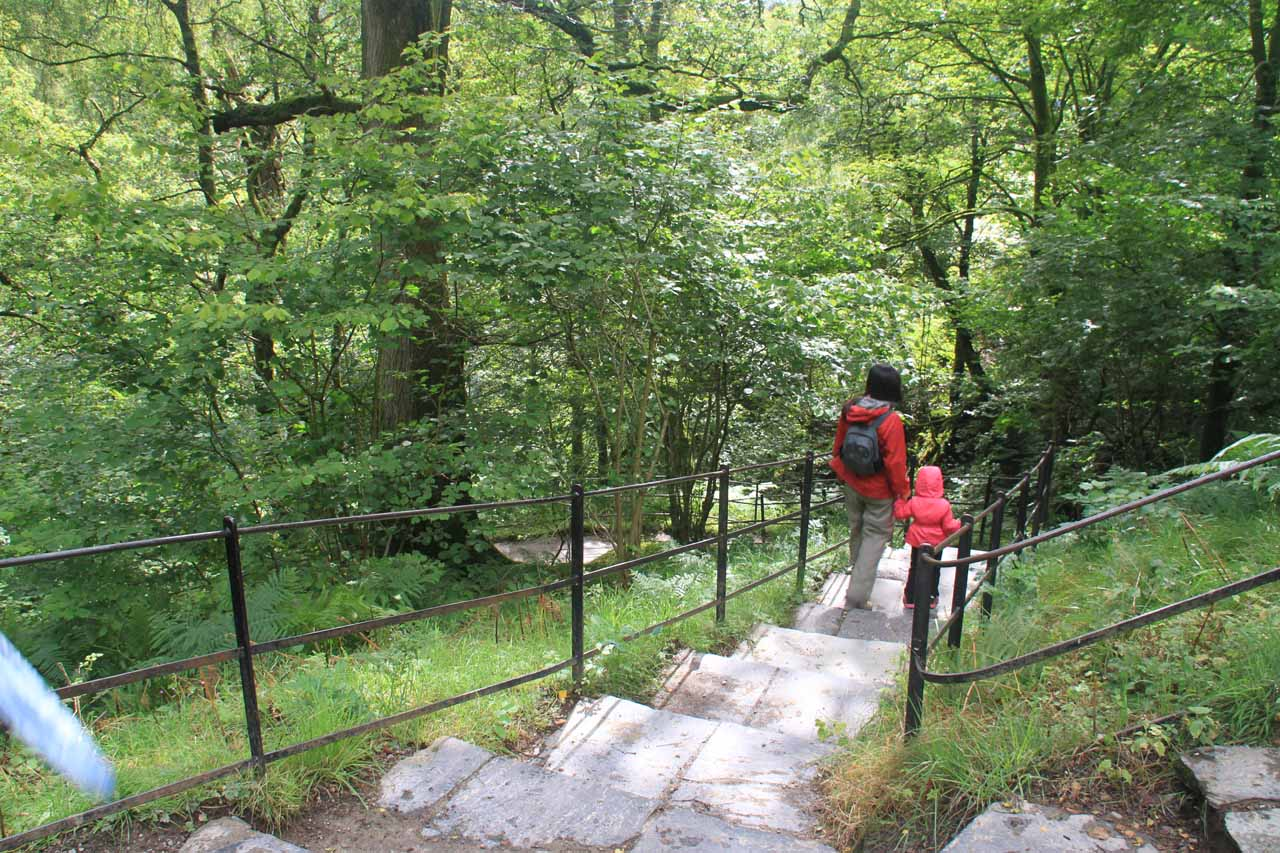 Julie and Tahia making their way down towards the bottom of Aira Force