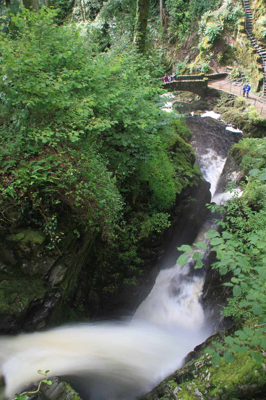 Looking down from the bridge atop Aira Force