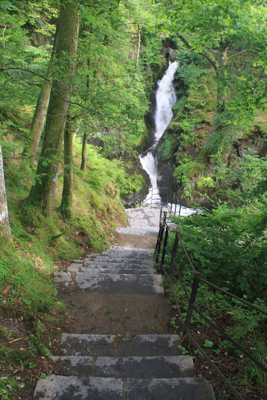 Descending the steps leading me towards the base of Aira Force
