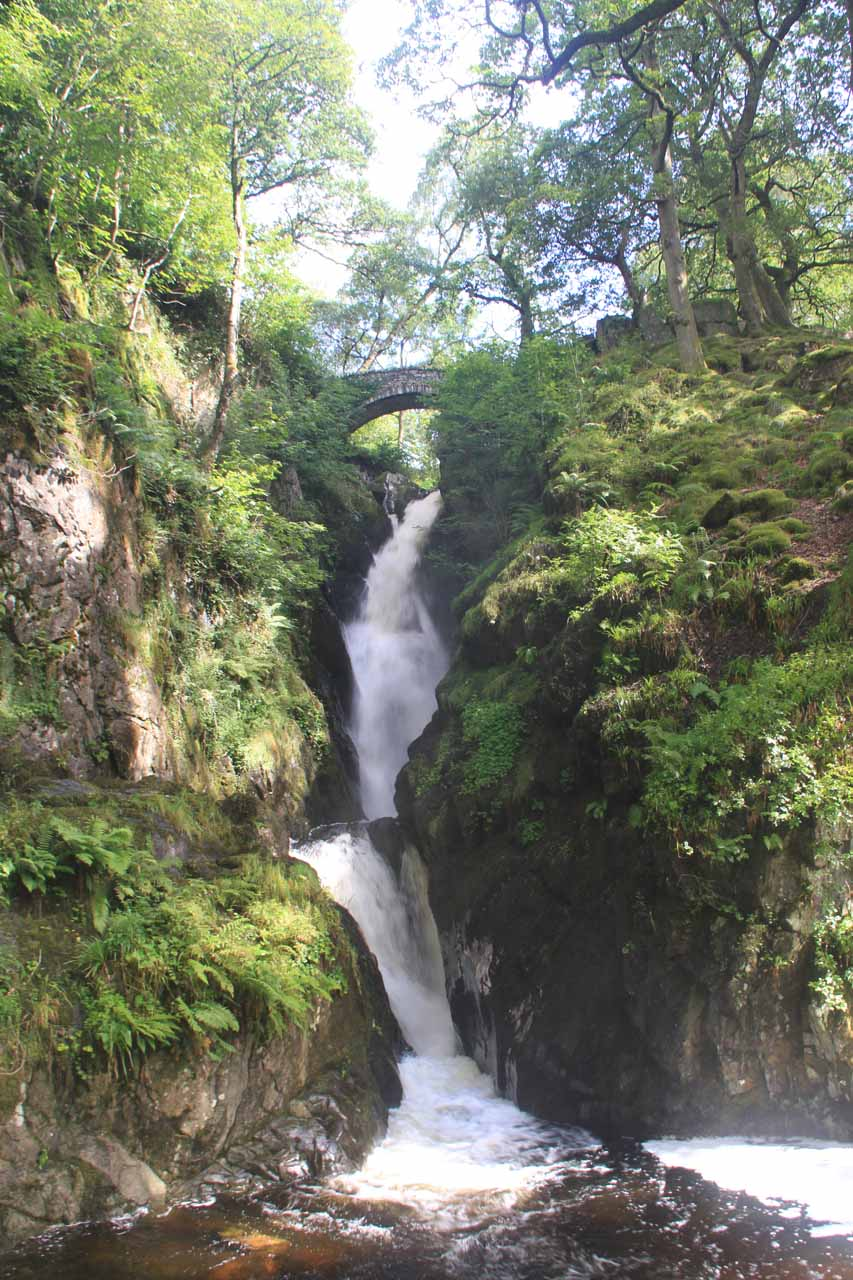 Looking right up at Aira Force from the bridge at its base