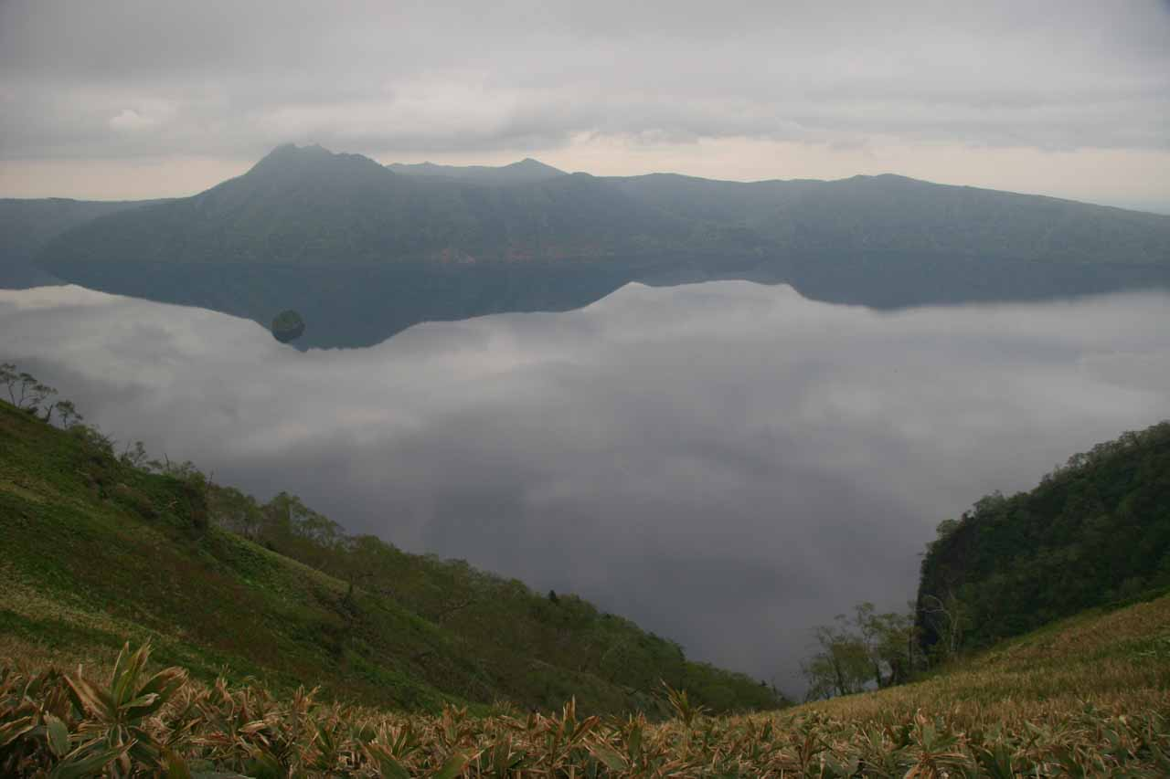 Lake Mashu under cloudy conditions