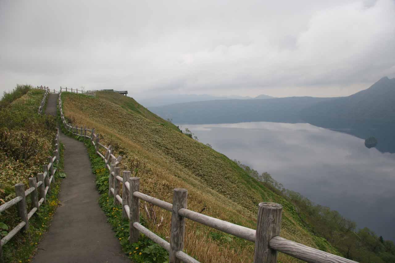 The walkway skirting the perimeter of Lake Mashu