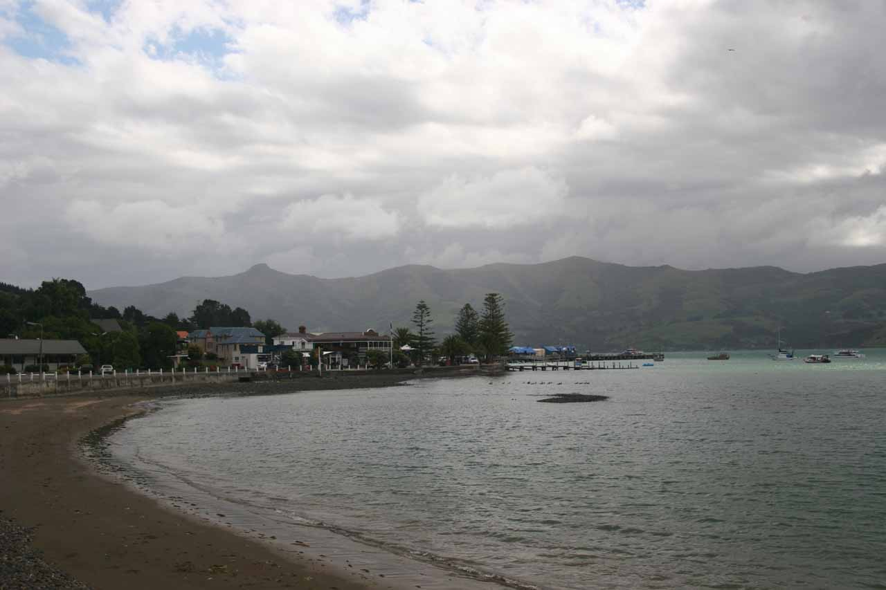 Julie and I also made the drive all the way past Lyttleton to Akaroa, which was a pretty laid back area (despite the weather) a couple hours drive southeast of Christchurch