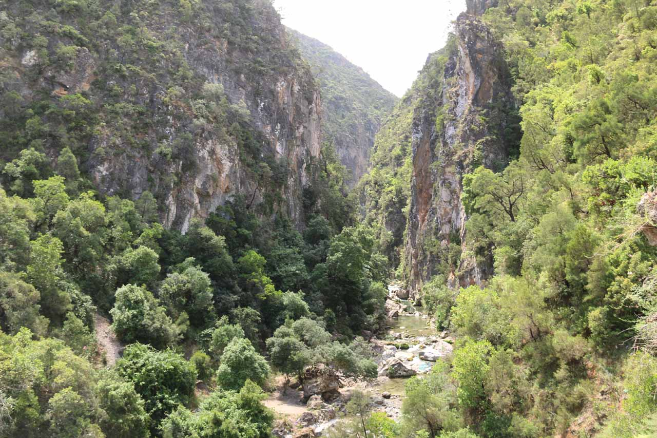Looking ahead at the steep-walled gorge leading us to the Bridge of God