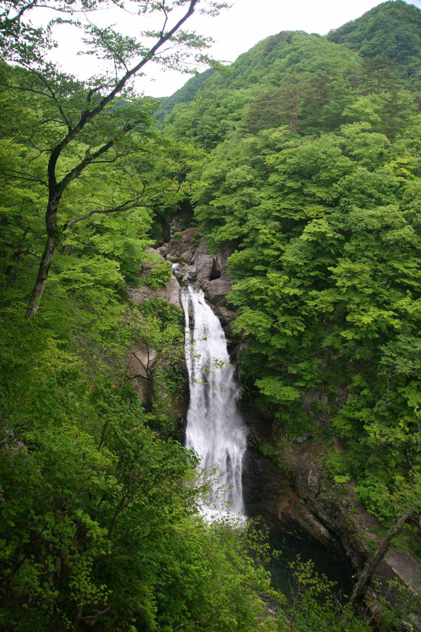 View of the Akiu Waterfall from the viewing deck